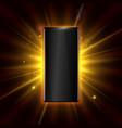 premium smartphone on golden glow background vector image