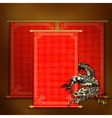 Red scroll with Asian dragon vector image vector image
