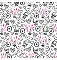 romantic doodle pattern with hearts-01 vector image vector image