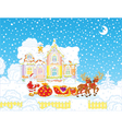 Santa with Christmas gifts and sledge vector image vector image