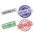 scratched textured blood sugar level seal stamps vector image