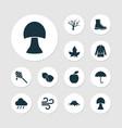 seasonal icons set with mushroom hazelnut wind vector image vector image