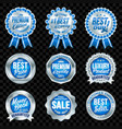 set excellent quality blue badges with silver vector image vector image