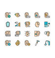 set hearing aid color icons ear canal volume vector image