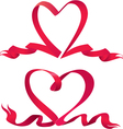 Set of two Red ribbons are made in heart shape vector image vector image