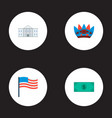 set of usa icons flat style symbols with flag vector image