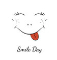 smile day symbol character smiley face red tongue vector image