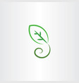 stylized green leaf icon vector image vector image