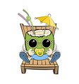 sunbathing little coconut on sun lounger in vector image