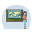 woman teacher with wavy long hair on classroom vector image vector image
