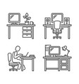 workplace icons set on white background vector image