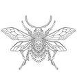 Zentangle stylized cartoon beetle insect vector image