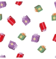 Seamless pattern with Christmas volume gift boxes vector image