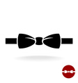 Bow tie black icon with ribbon Isolated on a white vector image