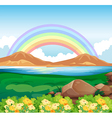 A view of the rainbow and the beautiful nature vector image vector image