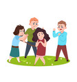 angry kids bad boys and girls bullying smaller vector image vector image
