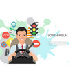 banner of road symbols and asian man vector image vector image