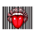 barcode strip makeup of female mouth with tongue vector image vector image