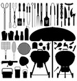 bbq barbecue set silhouette a large set of vector image vector image