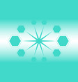 big star connected to ten hexagons mint green vector image vector image