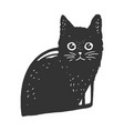 black cat in cat house sketch vector image vector image