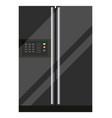 black refrigerator with buttons big modern fridge vector image vector image