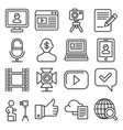 blog and blogger icons set on white background vector image vector image