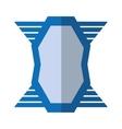 blue shield emblem winged shape geometric badge vector image vector image