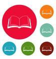 book information icons circle set vector image vector image