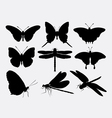 Butterfly and dragonfly insect silhouettes vector image vector image