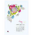 calendar month of may flowers vector image