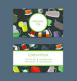 cartoon tea kettles and cups business card vector image vector image