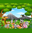 cartoon wild animal in the jungle vector image