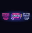casino welcome logo in neon style design template vector image vector image