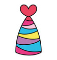 color party hat with lines and heart decoration vector image vector image