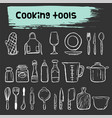 cooking tools doodle sketch icon set vector image vector image