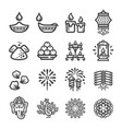 diwali icon set vector image