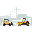 excavator construction equipment and cityscape vector image vector image