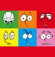 facial expressions on six color backgrounds vector image vector image