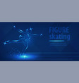 figure skating dancing on ice blue neon banner vector image