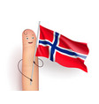 finger with norway waving flag vector image vector image