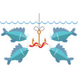 flat fishing icon with hook bait and hungry fishes vector image vector image
