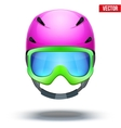Front view of Classic pink Ski helmet and green vector image vector image