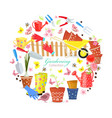 funny banner with colorful gardening tools and vector image
