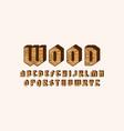 geometric sans serif bulk font with wooden texture vector image