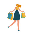 happy woman with shopping bag shopaholic female vector image