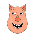 head of malevolent pig in cartoon style kawaii vector image vector image