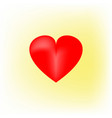 heart 3d isolated red sign on yellow background vector image vector image