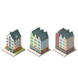 isometric buildings set isolated on white vector image vector image