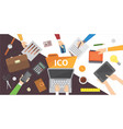 it startup crowdfunding blockchain ico vector image
